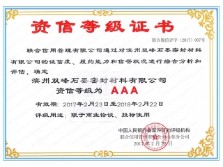 资信等级证书 AAA Credit Rating Certificate